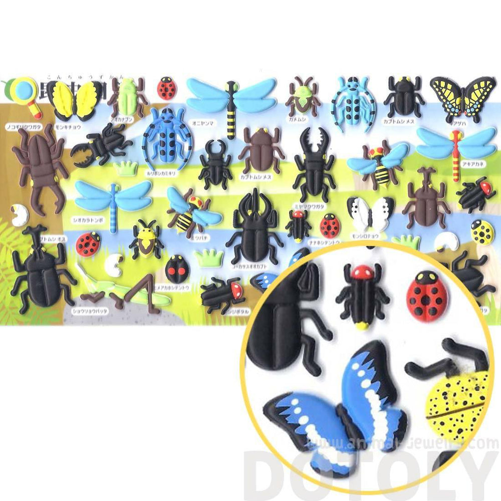 Beetles Dragonflies Butterfly Bug Shaped Insect Themed Puffy Stickers