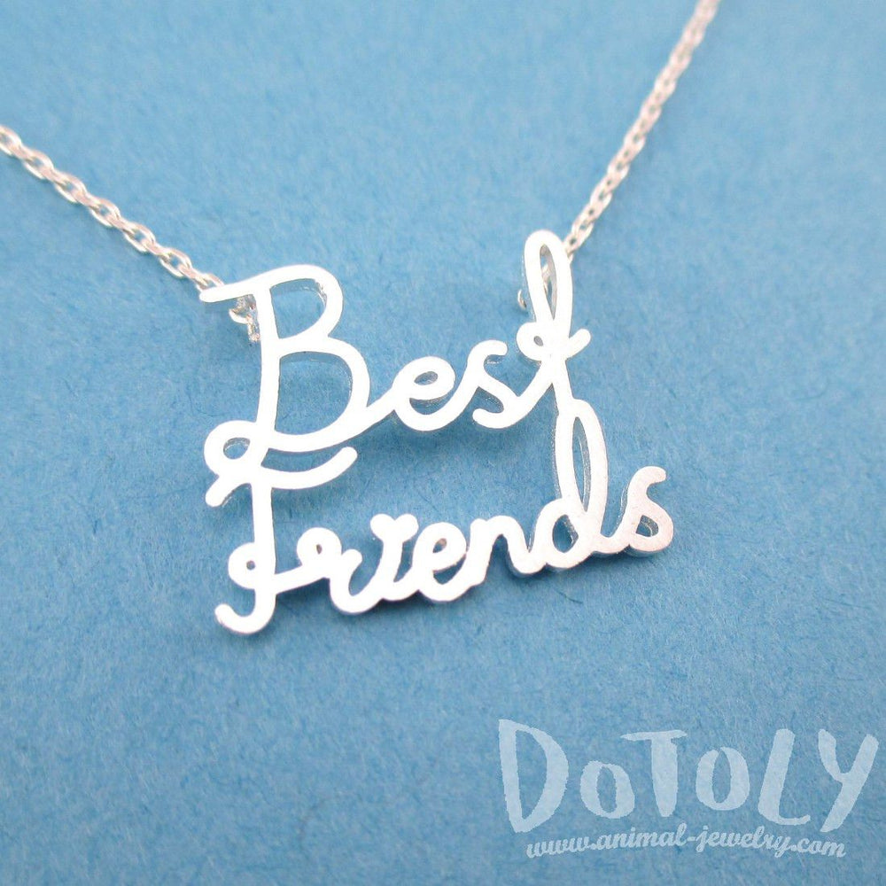 Best Friends Typgography Friendship Pendant Necklace in Silver | DOTOLY | DOTOLY
