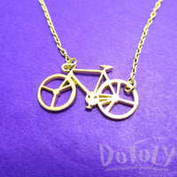 Bicycle Bike Silhouette Shaped Charm Necklace in Gold | DOTOLY | DOTOLY