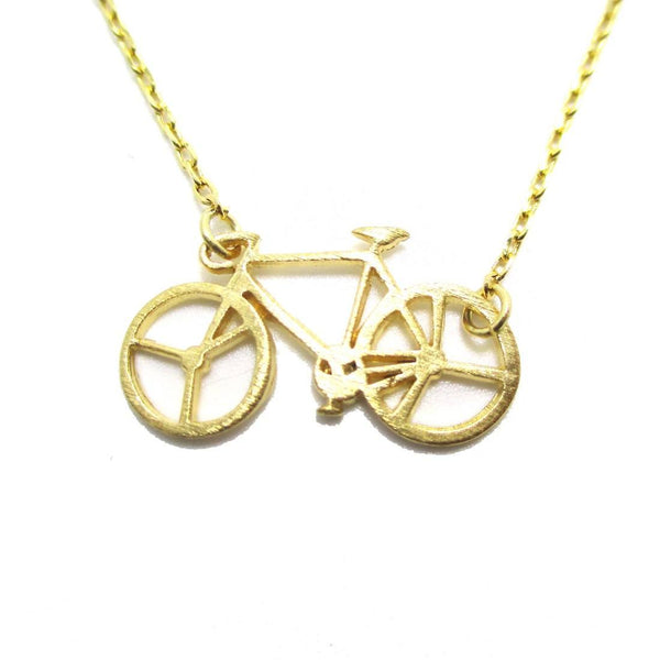 Bicycle Bike Silhouette Shaped Charm Necklace in Gold