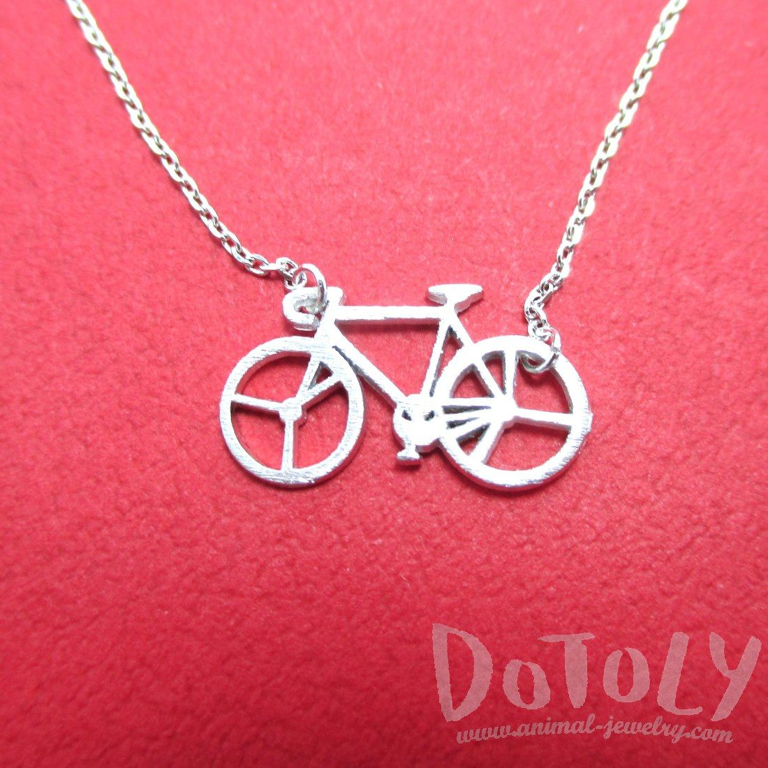 Bicycle Bike Silhouette Shaped Charm Necklace in Silver