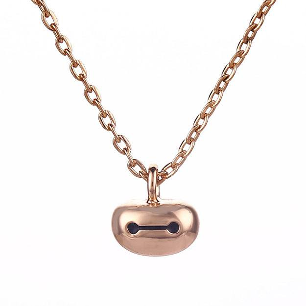 Big Hero 6 Baymax Face Pendant Necklace in Rose Gold | DOTOLY