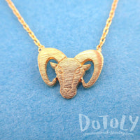 Bighorn Goat Sheep with Horns Shaped Animal Charm Necklace in Gold