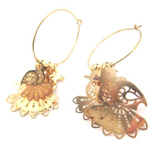 Bird Cut Out Shaped Decorative Dangle Hoop Earrings in Gold | DOTOLY