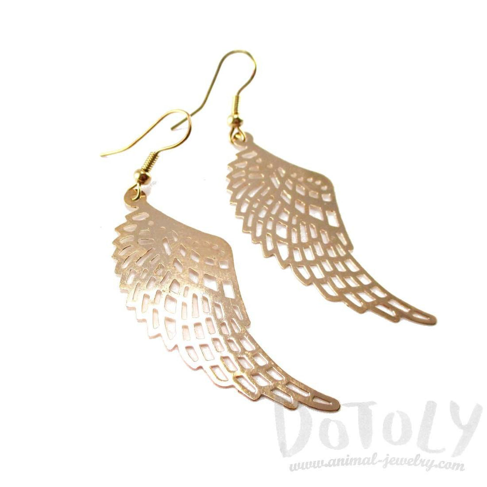 Bird Wings Feather Shaped Dangle Earrings in Gold | DOTOLY