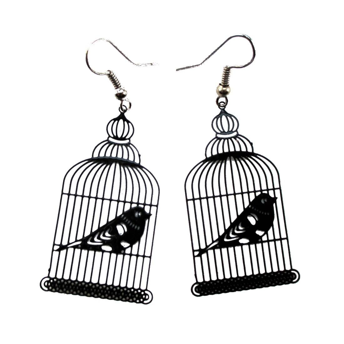 Birdcage Shaped Cut Out Filigree Dangle Drop Earrings in Black