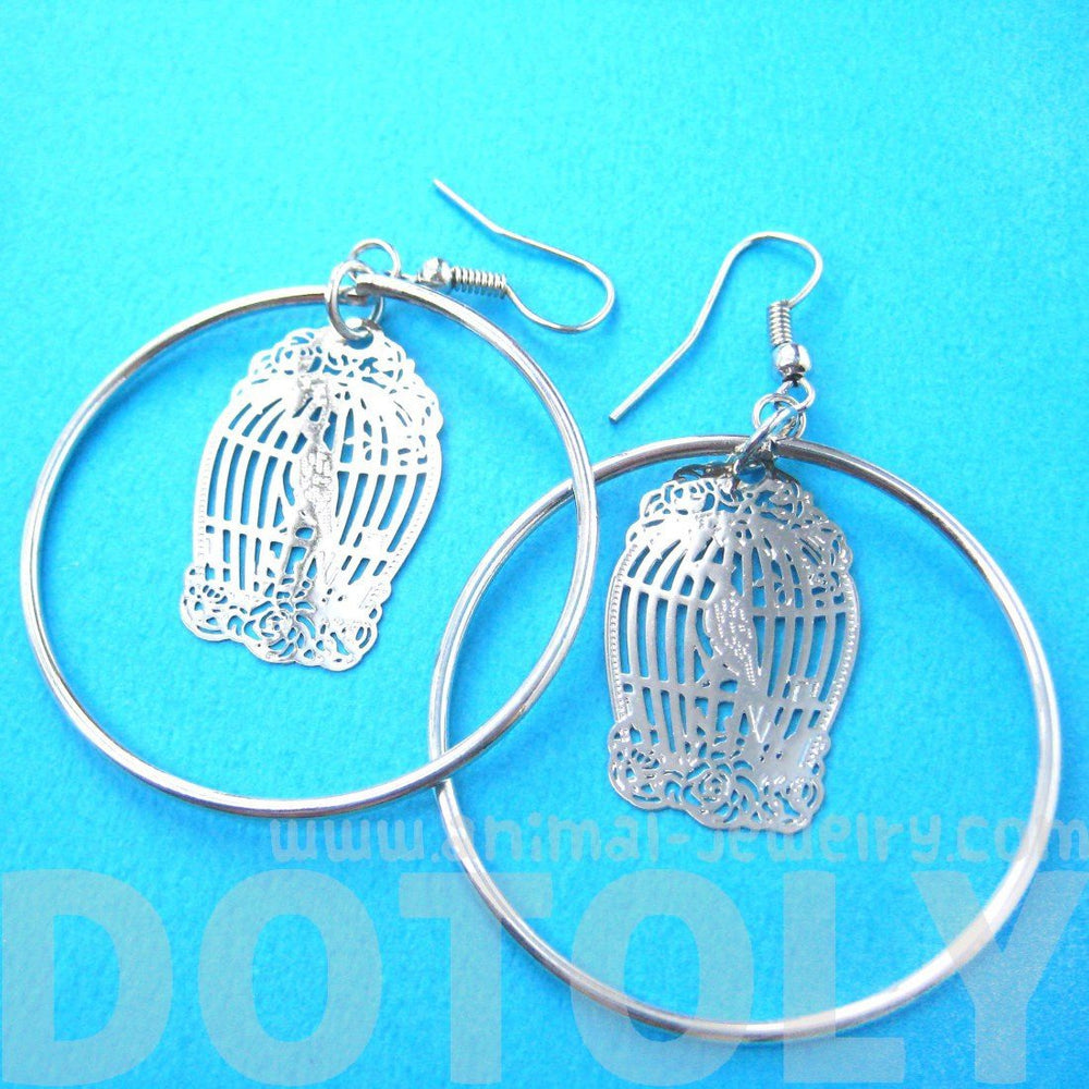 Birdcage Shaped Dye Cut Filigree Dangle Hoop Earrings in Silver