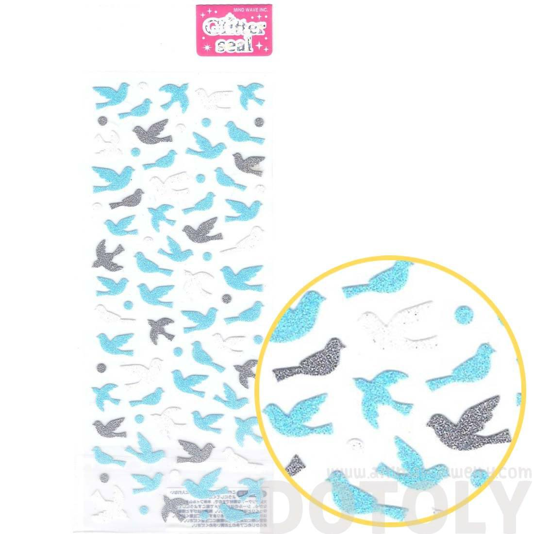 Birds and Doves Shaped Shimmer Decorative Stickers for DIY Crafts