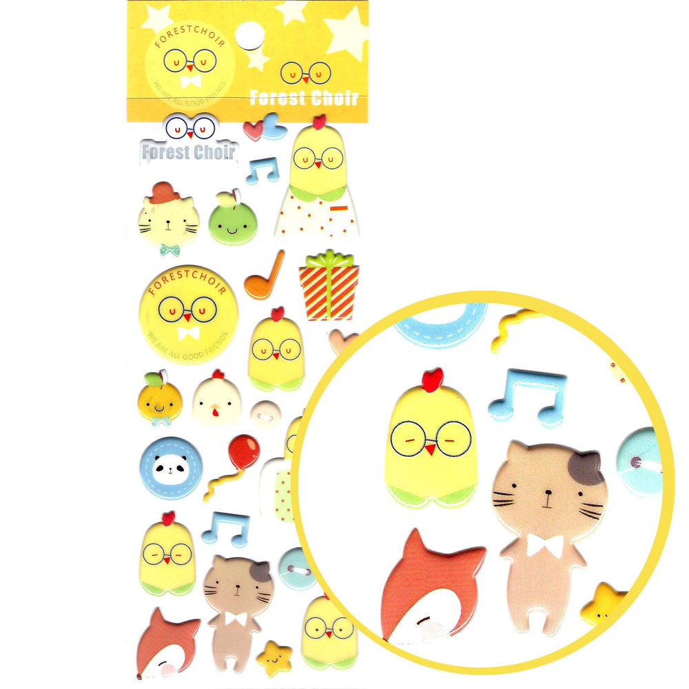 Birds Chickens and Foxes Shaped Animal Puffy Stickers for Scrapbooking | DOTOLY