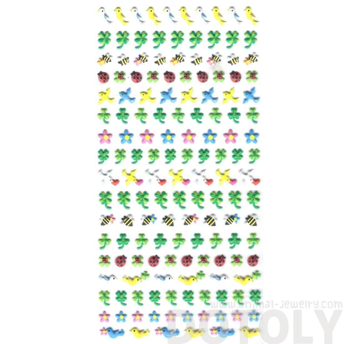 Birds Doves Bees Ladybugs and Four Leaf Clover Puffy Stickers for Kids