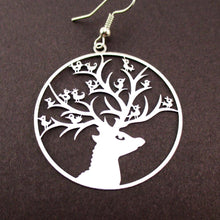 Birds on a Stag Silhouette Cut Out Filigree Dangle Earrings in Silver