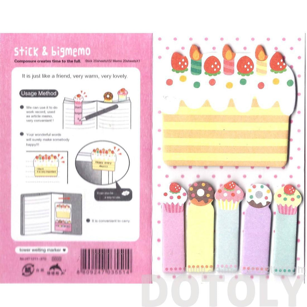 Birthday Cake and Cupcakes Food Themed Memo Pad Post-it Index Sticky Bookmark Tabs | DOTOLY