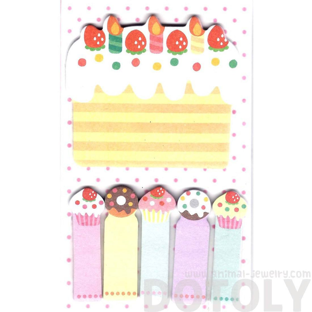 Birthday Cake and Cupcakes Memo Pad Post-it Index Sticky Bookmark Tabs