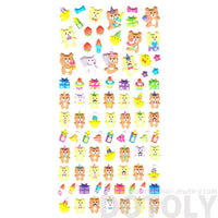 Birthday Themed Teddy Bear Pig Shaped Puffy Stickers