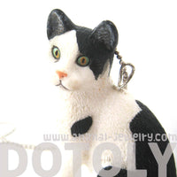 Black and White Bicolor Tabby Kitty Cat Animal Plastic Pendant Necklace | Animal Jewelry | DOTOLY