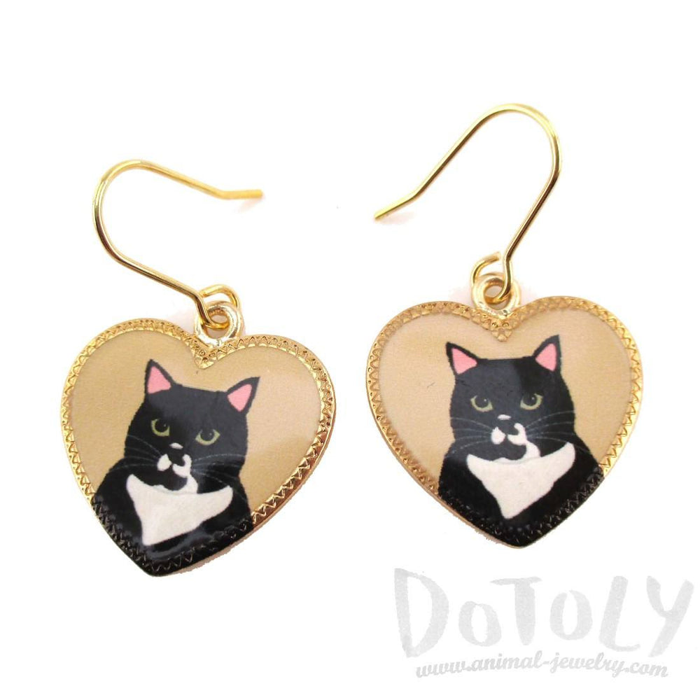 Black Bicolor Tuxedo Kitty Cat Portrait Heart Shaped Dangle Earrings