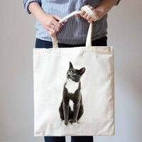 Black and White Burmese Kitty Cat Illustration Canvas Tote Shopper Bag