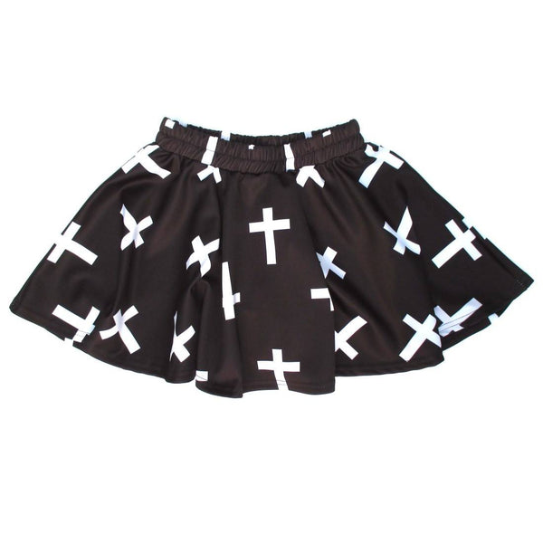 Black and White Cross Print A-Line Circle Skirt with Elastic Waist