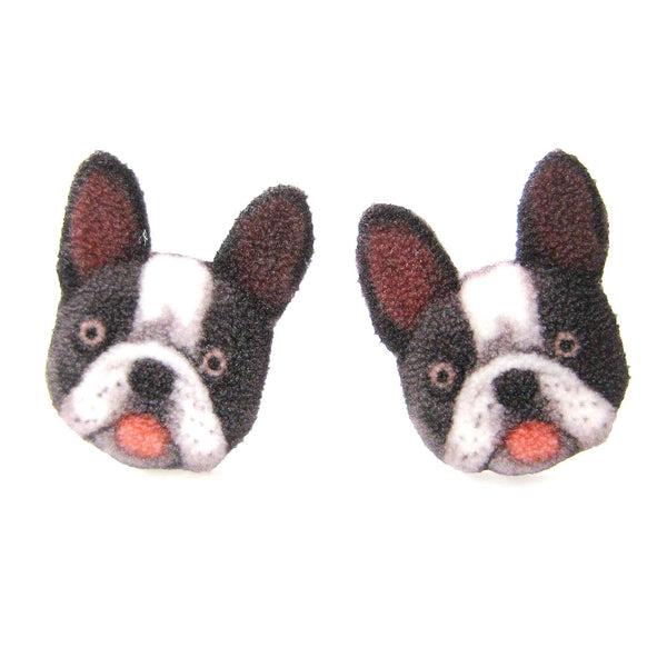 Black and White French Bulldog Puppy Animal Head Shaped Stud Earrings | Shrink Plastic
