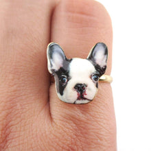 Black and White French Bulldog Puppy Shaped Adjustable Ring | DOTOLY