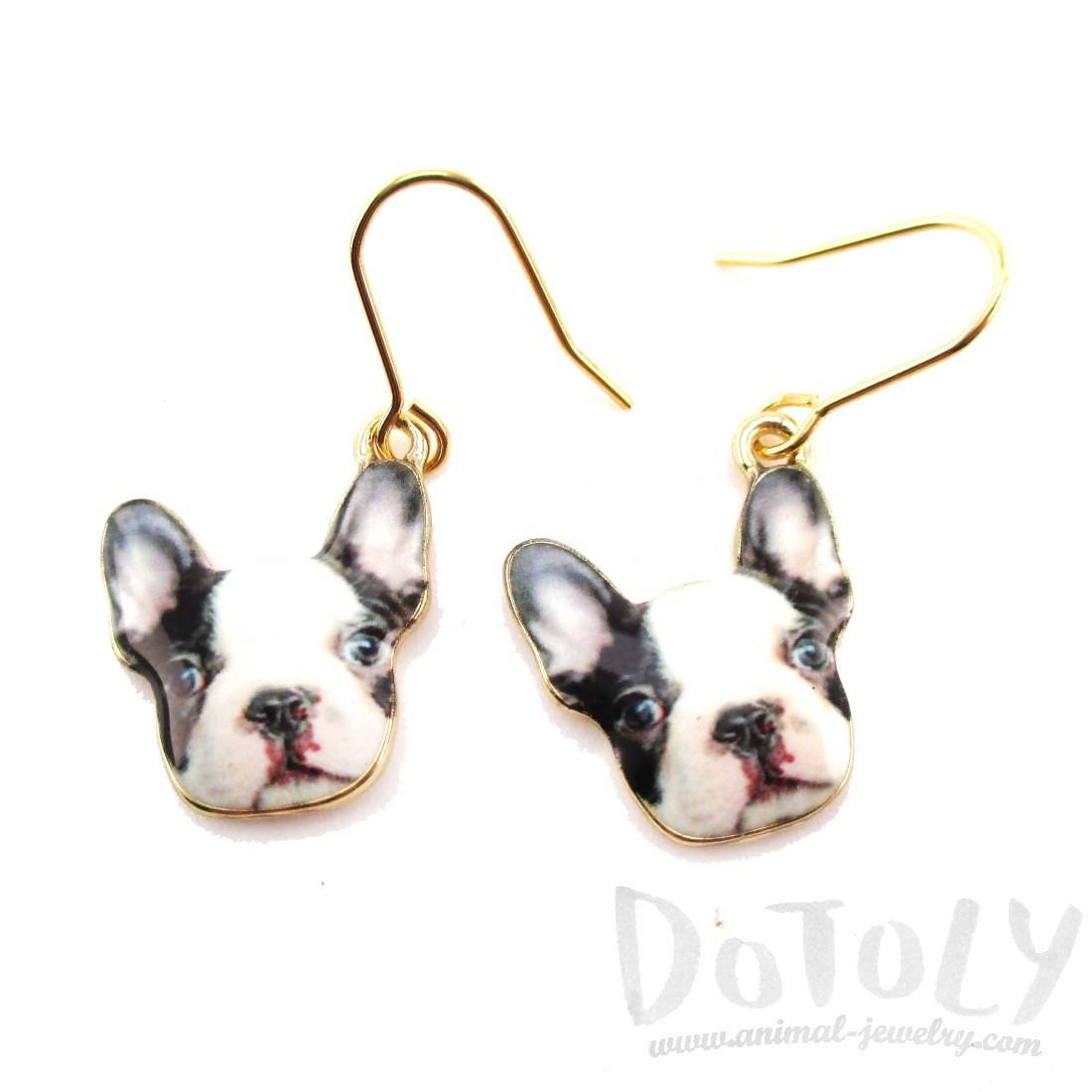 Black and White French Bulldog Puppy Shaped Dangle Drop Earrings