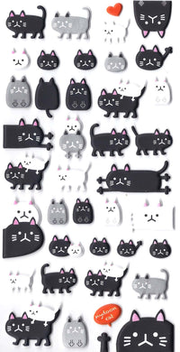black-and-white-kitty-cat-animal-themed-puffy-stickers-for-scrapbooking-and-decorating