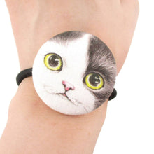 Black and White Kitty Cat Face Shaped Button Hair Tie Ponytail Holder