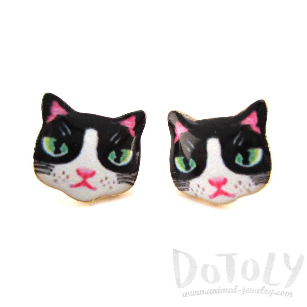 Black and White Kitty Cat Hand Drawn Face Shaped Stud Earrings
