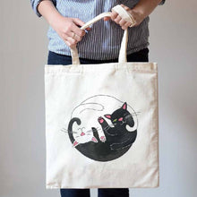 Black and White Kitty Cat Hug Illustration Canvas Tote Shopper Bag
