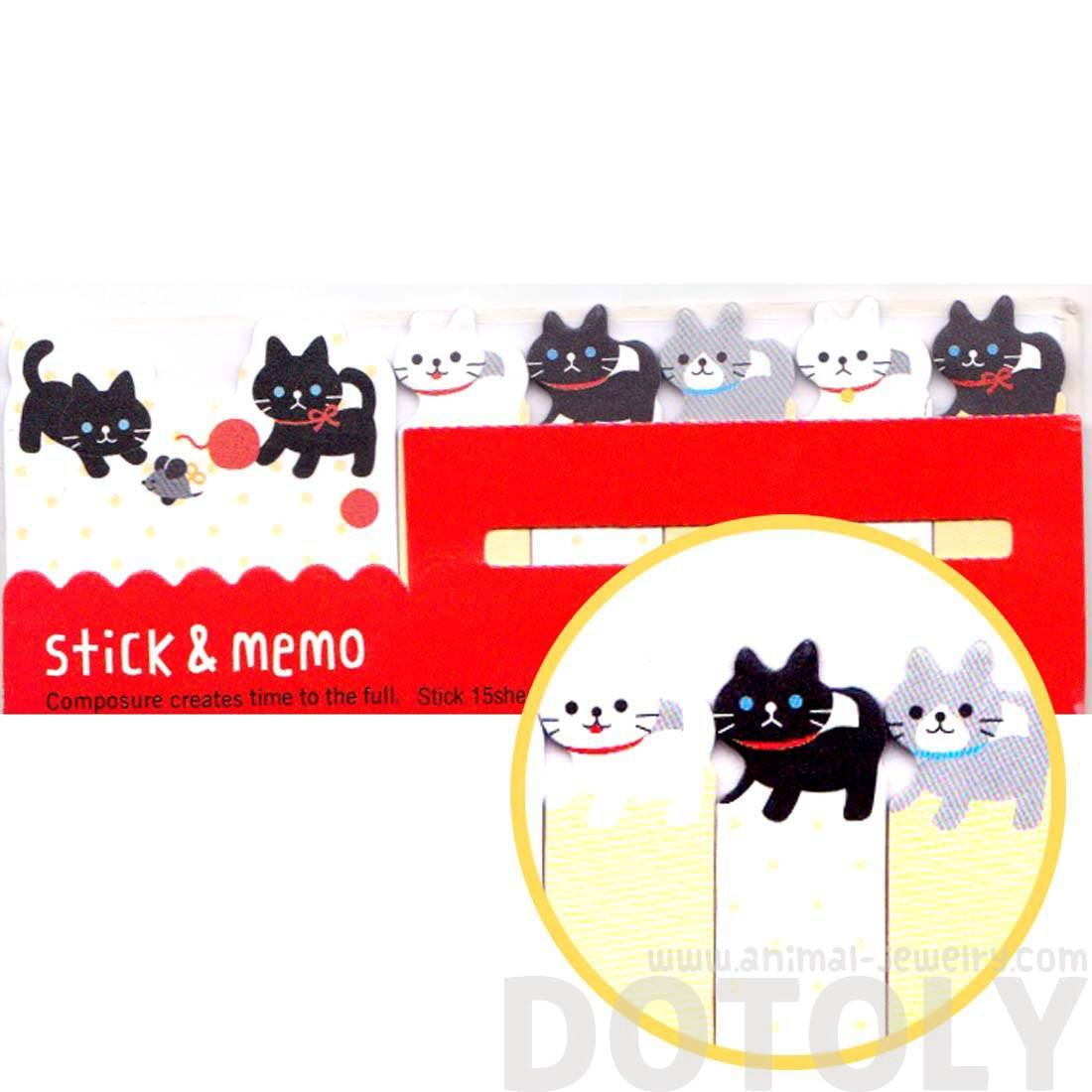 black-and-white-kitty-cat-shaped-animal-memo-pad-post-it-index-sticky-tab-bookmarks