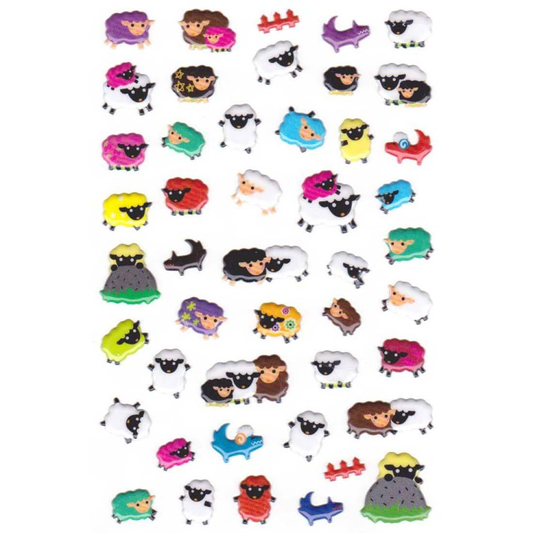 Black and White Sheep Shaped Animal Themed Stickers