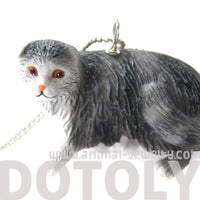 Black and White Tabby Kitty Cat Animal Plastic Pendant Necklace | Animal Jewelry | DOTOLY