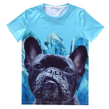 Black French Bulldog Face Graphic Print T-Shirt in Blue