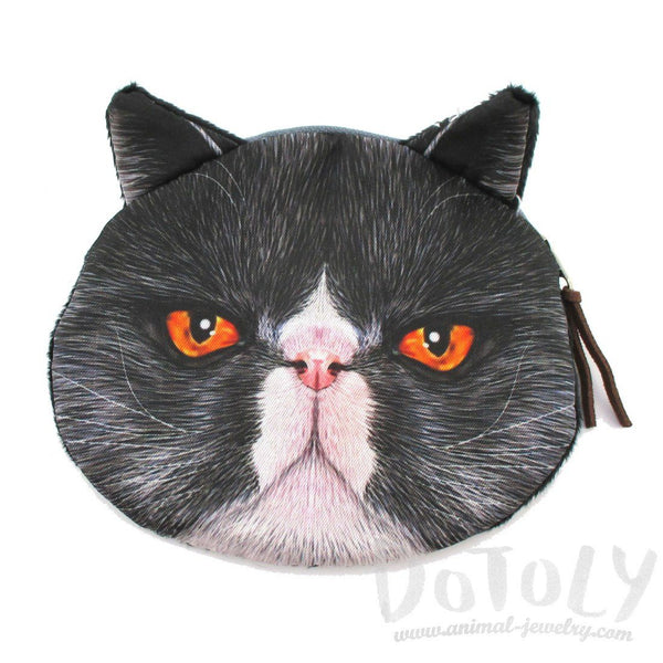 Black Grumpy Kitty Cat Shaped Coin Purse Make Up Bag