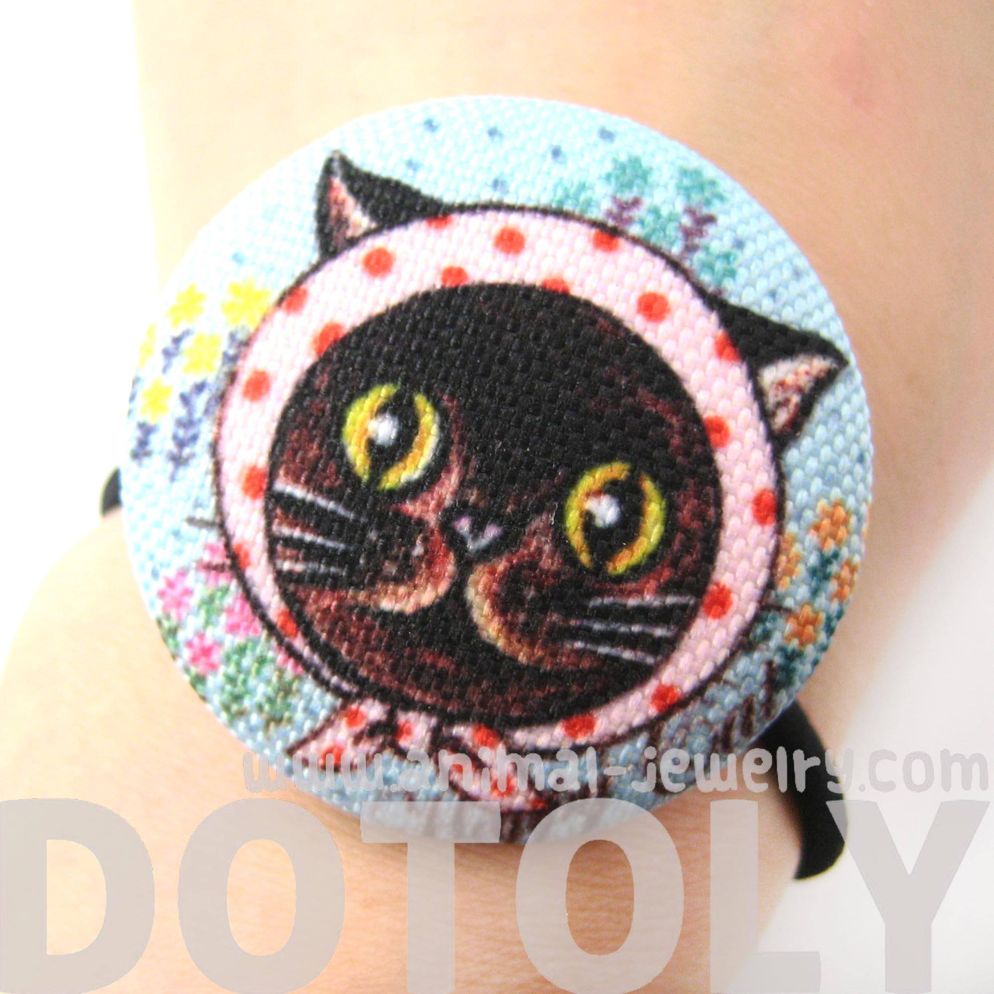 black-hand-drawn-kitty-cat-animal-button-hair-tie-pony-tail-holder