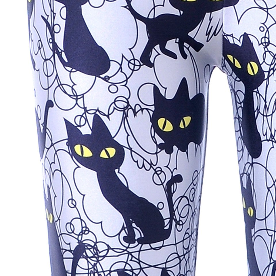 Black Kitty Cat All Over Collage Photo Print Legging Pants for Women in Grey | DOTOLY