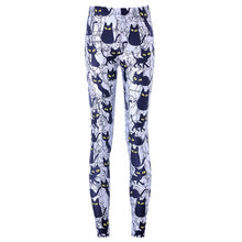Black Kitty Cat All Over Collage Photo Print Legging Pants in Grey