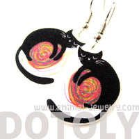Black Kitty Cat and a Ball of Yarn Watercolor Animal Dangle Earrings | Handmade | DOTOLY