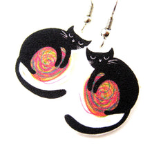 black-kitty-cat-and-a-ball-of-yarn-watercolor-animal-dangle-earrings-handmade