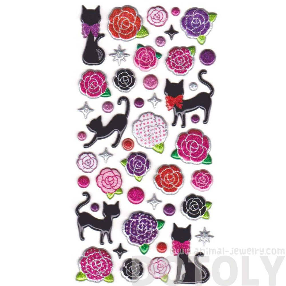 Kitty Cat and Rose Shaped Glittery Stickers from Japan