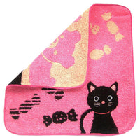 Black Kitty Cat and Teddy Bear Handkerchief Face Towel in Dark Pink | Japan | DOTOLY