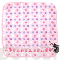 Black Kitty Cat Embroidered Pink Polka Dotted Handkerchief Face Towel
