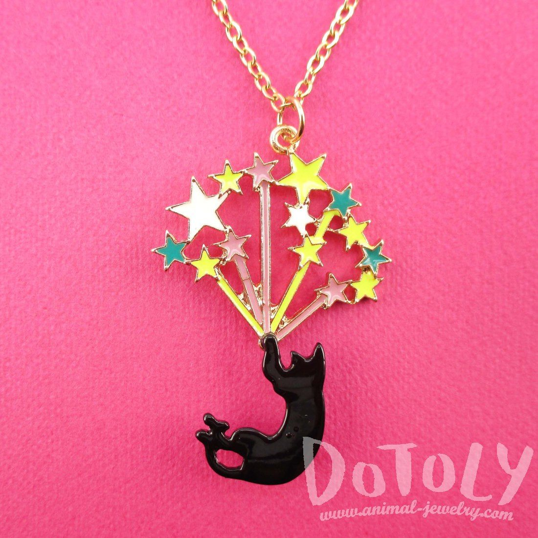 Black Kitty Cat Falling Stars Pendant Necklace | DOTOLY