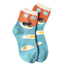 Black Kitty Cat on Eggs Print Novelty Socks for Women