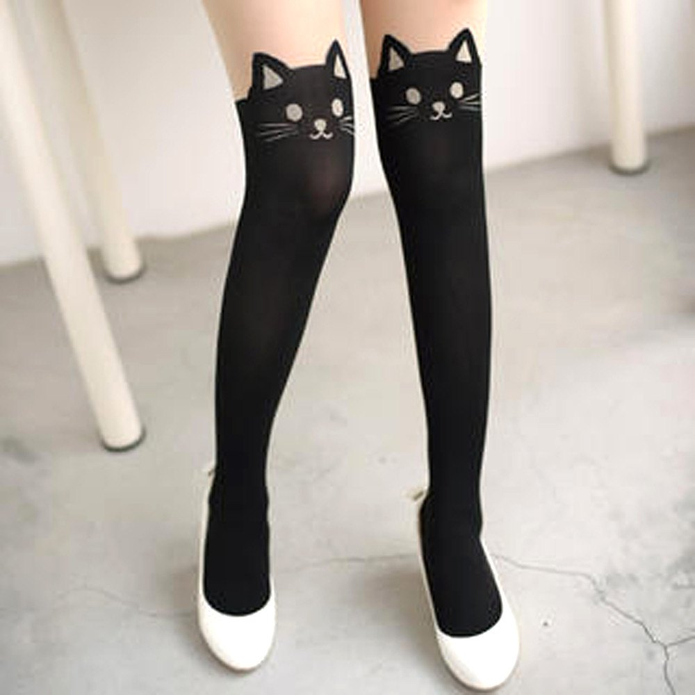 Black Kitty Cat Print Mock Thigh High Pantyhose Tights for Women