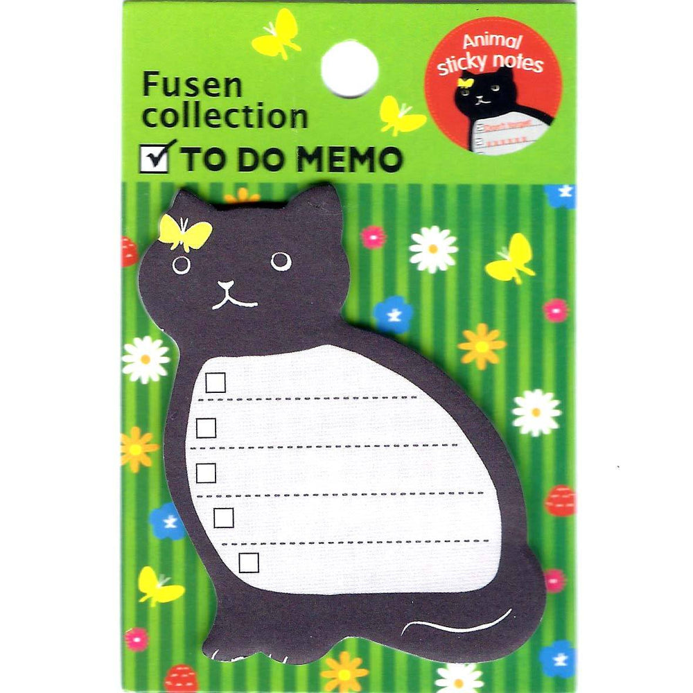 Black Kitty Cat Shaped Animal Adhesive Post-it To Do List Memo Pad