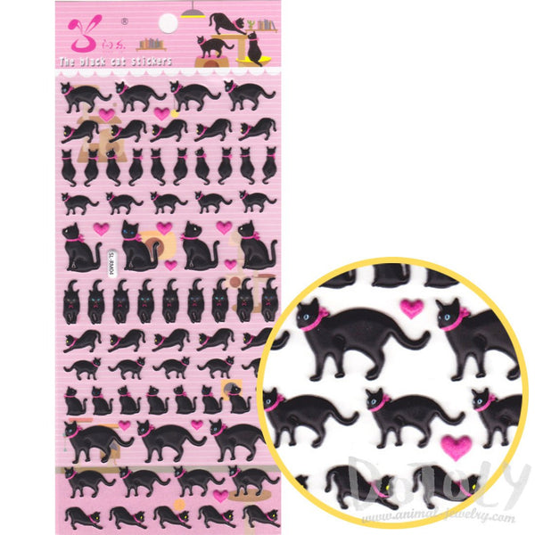Black Kitty Cat Silhouette Shaped Puffy Stickers with Hearts for Kids