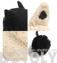 Black or Beige Animal Themed Knit Beanie Hat with Cat Ears for Women with Pom Poms | DOTOLY