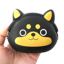 Black Shiba Inu Puppy Dog Shaped Mimi Pochi Silicone Animal Coin Purse