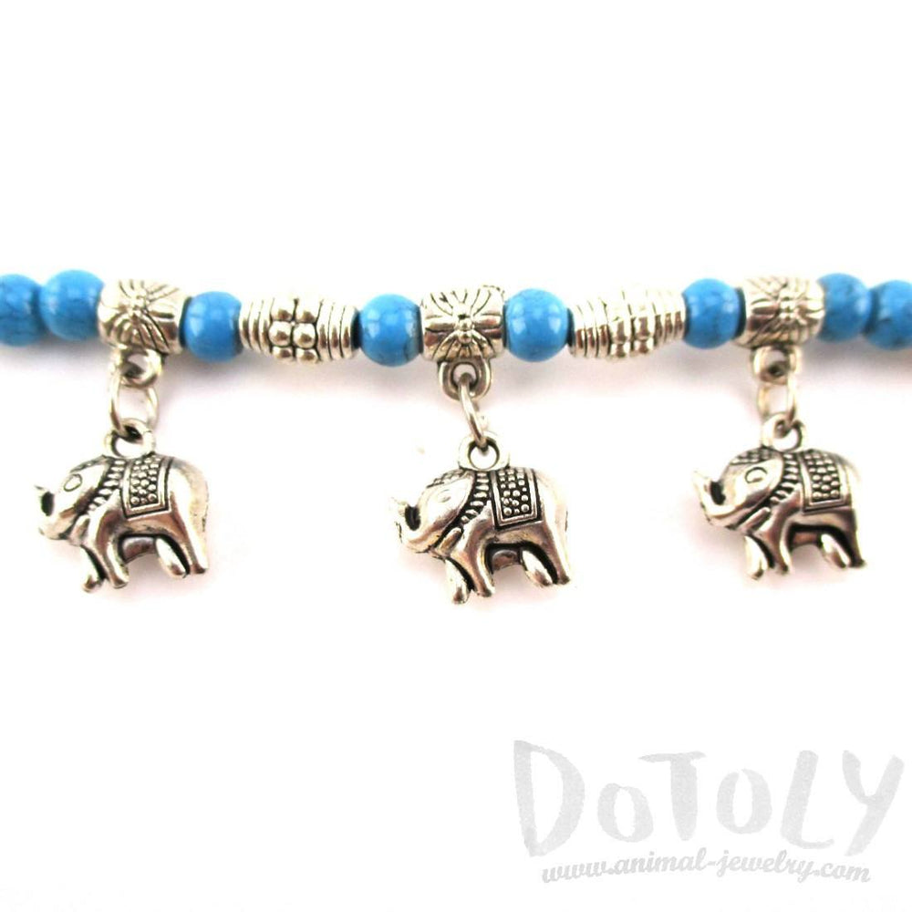 Blue Beaded Elephant Charm Bracelet in Silver | Animal Jewelry